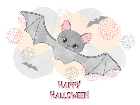 Ilustración de Halloween vector illustration for kids with cute bat. - Imagen libre de derechos