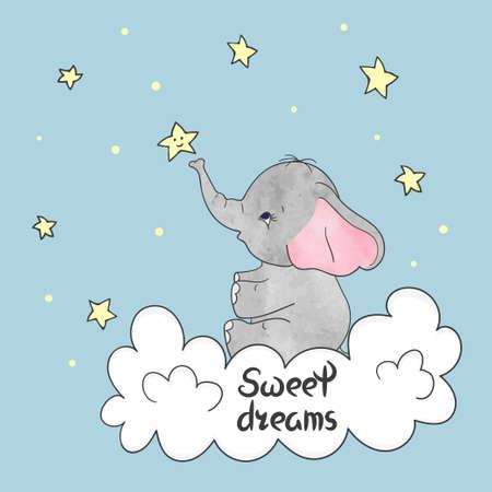 Illustration pour Cute little elephant on the cloud. Sweet dreams vector illustration. - image libre de droit