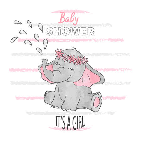 Ilustración de Baby shower girl. Vector illustration with cute baby elephant. - Imagen libre de derechos