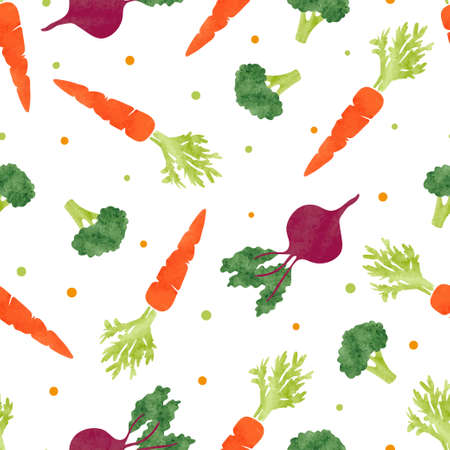 Illustration for Seamless watercolor vegetables pattern with broccoli, carrot and beet. Vector background - Royalty Free Image