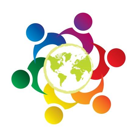 Illustration pour vector teamwork union people world - image libre de droit