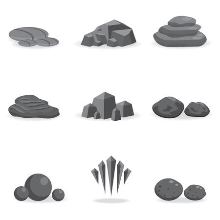 Illustration pour set stone, rock and pebble element decor isolated for game art architecture design - image libre de droit