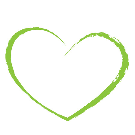 Illustration for green heart drawing love valentine - Royalty Free Image