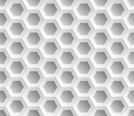Illustration pour Seamless abstract honeycomb mesh  background - hexagons. Colour white with shadows. Vector illustration EPS8.  Raised above the surface. - image libre de droit