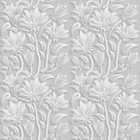 Illustration pour Seamless 3D white floral  pattern,  vector. Endless texture can be used for wallpaper, pattern fills, web page  background,  surface textures. - image libre de droit