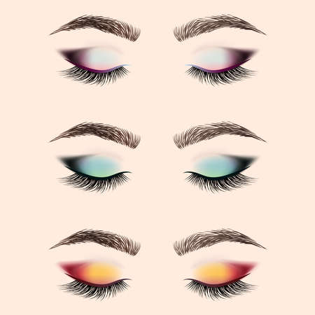Ilustración de Set of eye makeup. Closed eye with long eyelashes and eyebrows. Vector illustration. - Imagen libre de derechos