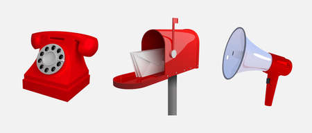 Foto de Phone, mail box, megaphone, means of communication. Set of objects isolated on white background. Realistic stylized 3d vector illustration. - Imagen libre de derechos