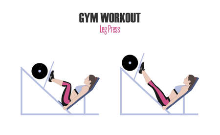 Illustration for Sport exercises. Exercises in a gym. Leg press. Woman doing exercise on leg press machine in gym. Illustration of an active lifestyle. - Royalty Free Image