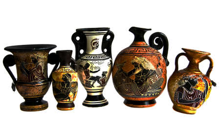 Souvenir immitation of antique Greek amphoras, isolated on white background