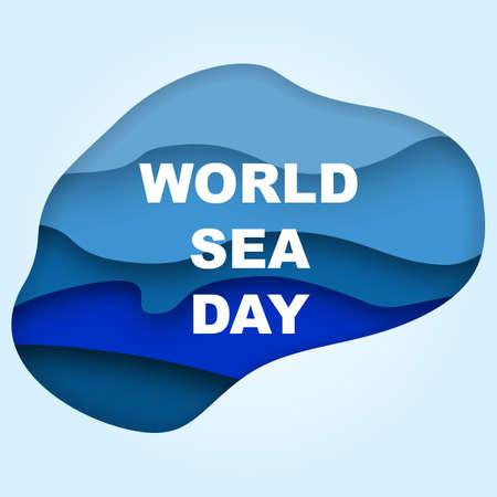 Illustration pour 3d paper cut eco friendly design on World sea day. Vector illustration. Paper carving layer drop with shadow - image libre de droit