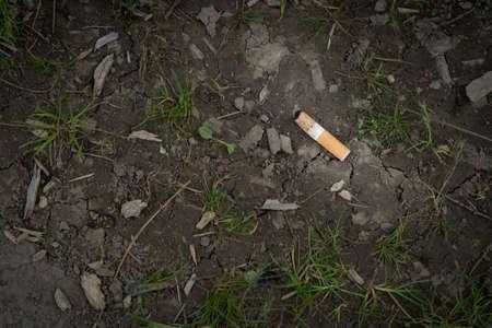 Foto de Discarded Cigarette Butt in the Dirt in a Public Park - Imagen libre de derechos