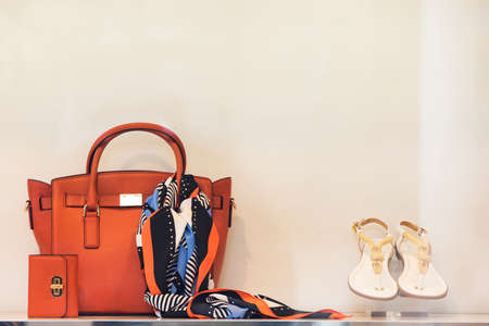 Photo for Shoes and purses in a luxury boutique - Royalty Free Image