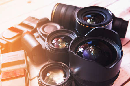 Photo for Professional camera lenses and accesories. - Royalty Free Image