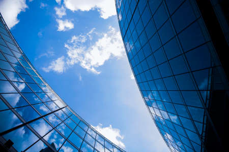 Foto per Corporate office building in Milan - detail in blue tones, business concept. - Immagine Royalty Free