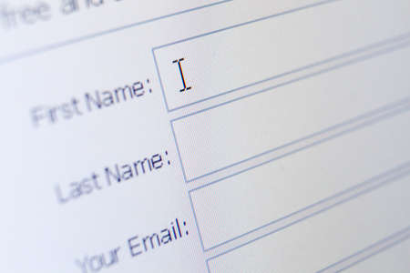 Foto per Close up of sign up form. Concept of surfing the internet and pastime - Immagine Royalty Free