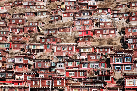 Photo for Larung Gar - the largest Bhuddist academy in the world, located in Sertar county, China - Royalty Free Image