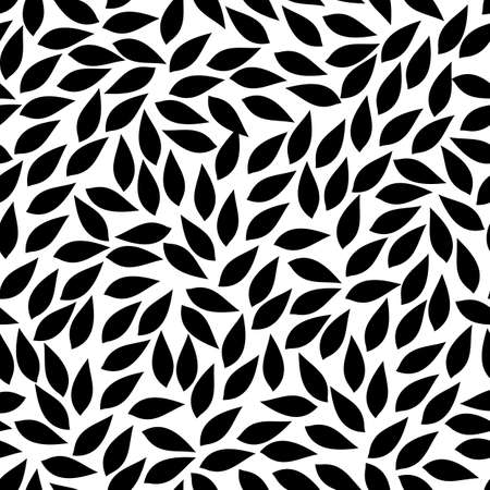 Illustration for abstract leaves shapes. vector seamless pattern. simple black and white background. textile paint. repetitive background. fabric swatch. wrapping paper. modern stylish texture - Royalty Free Image