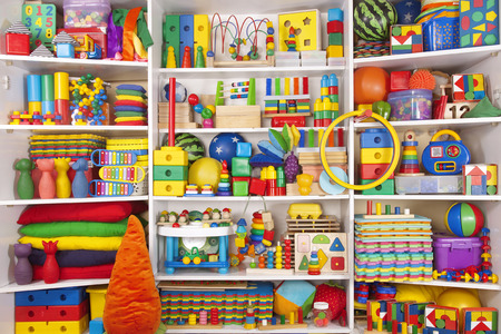 Photo for Shelf with many colored toys - Royalty Free Image