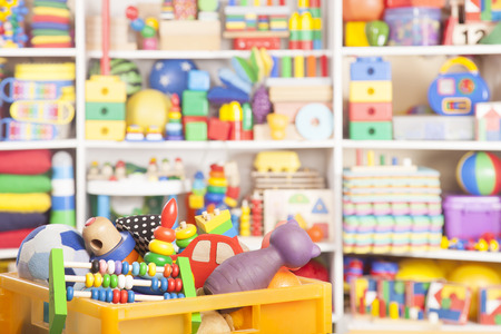 Foto de box with toys in room for children - Imagen libre de derechos