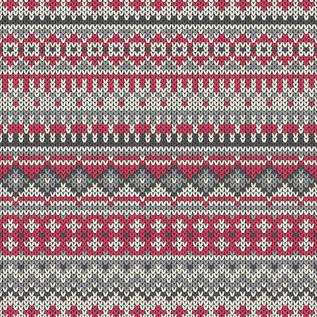 Knitted seamless pattern in traditional Fair Isle style
