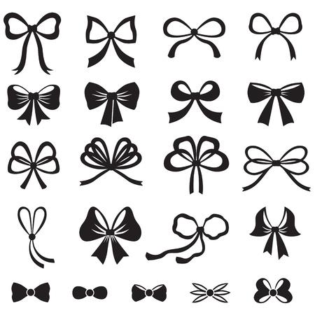 Illustration pour Black and white silhouette image of bow set - image libre de droit