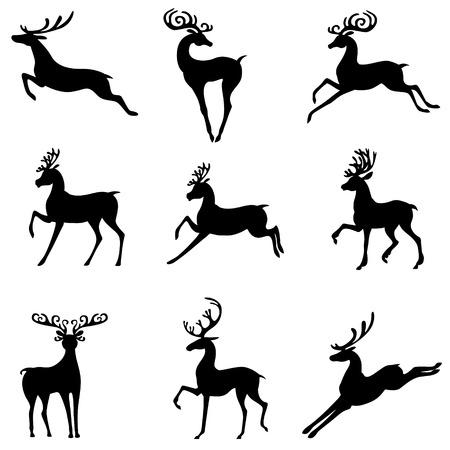 Ilustración de Vector illustrations of set of silhouettes of cute Christmas deer antlered - Imagen libre de derechos