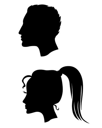 Illustration pour Vector illustrations of silhouette profiles of man and woman - image libre de droit