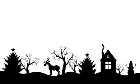 Illustration pour  illustrations of Christmas silhouette winter landscape - image libre de droit