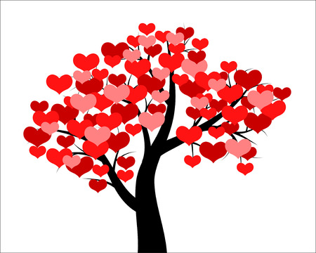 Illustration pour Vector illustrations of tree decorated hearts for Valentines day - image libre de droit