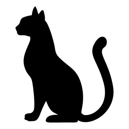 Ilustración de Vector illustrations of silhouette of graceful cat. Black cat silhouette. - Imagen libre de derechos