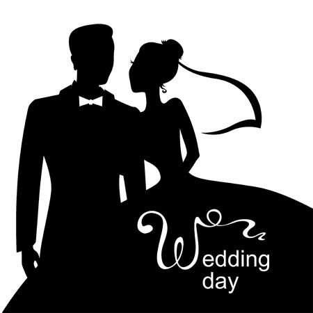 Ilustración de Vector illustrations of silhouette of bride and groom. Wedding day card - Imagen libre de derechos