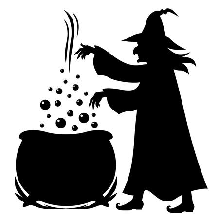 Ilustración de Illustrations of Halloween silhouette Witch brews potion in pot isolated on white - Imagen libre de derechos