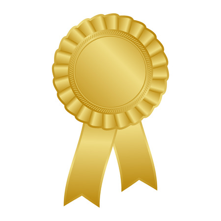 Illustration for Gold blank award rosette with ribbon - Royalty Free Image
