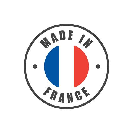 Ilustración de Made in France badge with French flag - Imagen libre de derechos