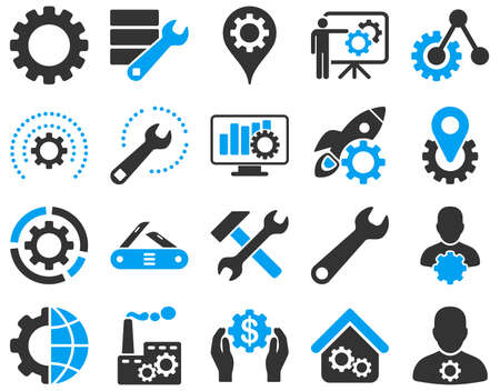 Ilustración de Settings and Tools Icons. Vector set style is bicolor flat images, blue and gray colors, isolated on a white background. - Imagen libre de derechos