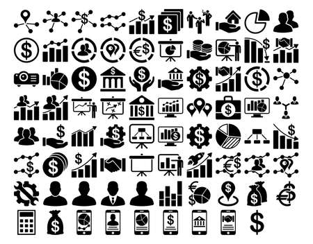 Ilustración de Business Icon Set. These flat icons use black color. Vector images are isolated on a white background. - Imagen libre de derechos