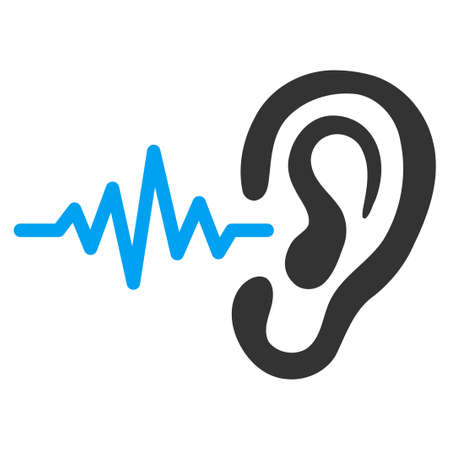 Illustration pour Listen vector icon. Style is bicolor flat symbol, blue and gray colors, rounded angles, white background. - image libre de droit