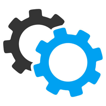 Illustration pour Gears vector icon. Style is bicolor flat symbol, blue and gray colors, rounded angles, white background. - image libre de droit