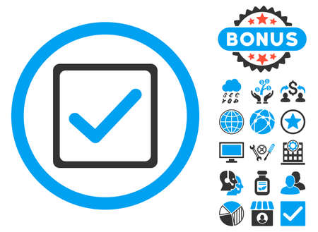 Illustration pour Checkbox icon with bonus pictures. Vector illustration style is flat iconic bicolor symbols, blue and gray colors, white background. - image libre de droit