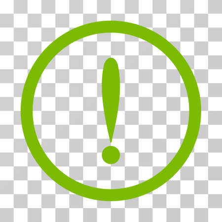 Photo for Exclamation Sign rounded icon. Vector illustration style is flat iconic symbol inside a circle, eco green color, transparent background. Designed for web and software interfaces. - Royalty Free Image