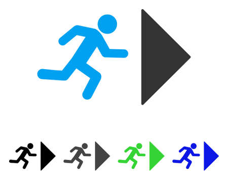 Illustration for Exit Direction flat vector pictograph. Colored exit direction gray, black, blue, green pictogram versions. Flat icon style for application design. - Royalty Free Image