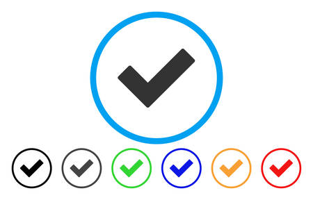 Illustration pour Check Tick rounded icon. Vector illustration style is a gray flat iconic check tick symbol inside a circle. Additional color variants are black, gray, green, blue, red, orange. - image libre de droit