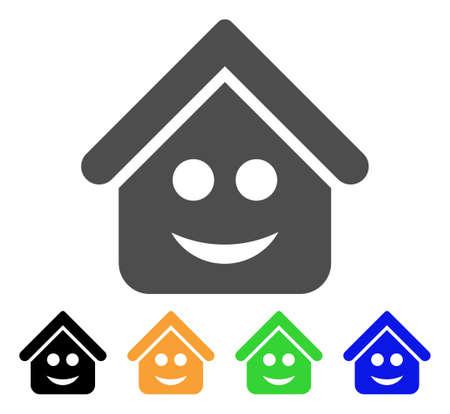 Ilustración de Real Estate Smile Smiley icon. Vector illustration style is a flat iconic real estate smile smiley symbol with black, gray, green, blue, yellow color variants. - Imagen libre de derechos