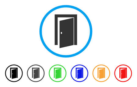 Illustration for Door rounded icon. Style is a flat door grey symbol inside light blue circle with black, gray, green, blue, red, orange variants. Vector designed for web and software interfaces. - Royalty Free Image