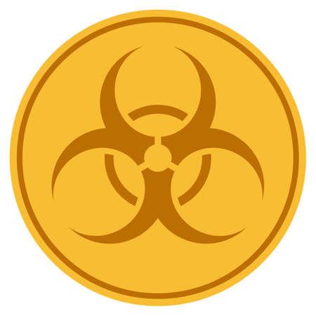 Foto de Biohazard golden coin icon. Raster style is a gold yellow flat coin symbol. - Imagen libre de derechos