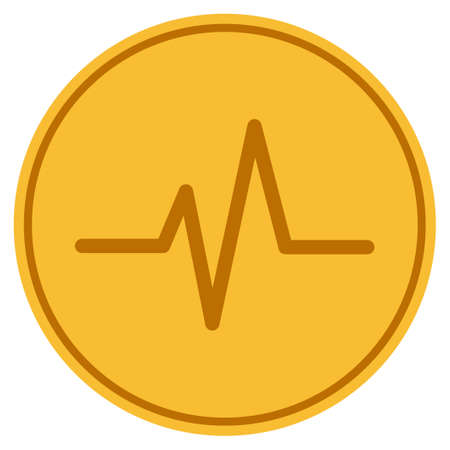 Foto de Pulse golden coin icon. Raster style is a gold yellow flat coin symbol. - Imagen libre de derechos
