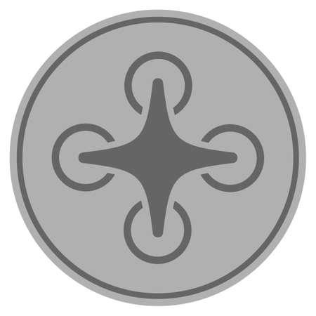 Foto de Nanocopter silver coin icon. Raster style is a silver gray flat coin symbol. - Imagen libre de derechos