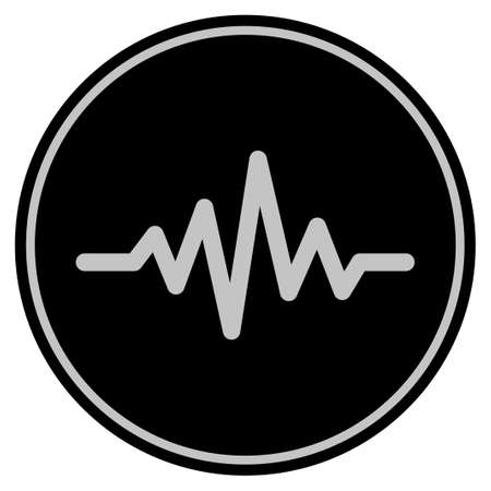 Foto de Pulse Signal black coin icon. Raster style is a flat coin symbol using black and light gray colors. - Imagen libre de derechos