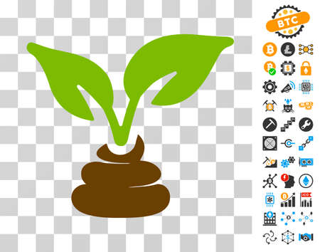 Illustration pour Garden Natural Fertilizer icon with bonus bitcoin mining and blockchain clip art. Vector illustration style is flat iconic symbols. Designed for cryptocurrency websites. - image libre de droit