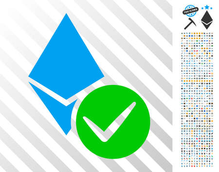 Illustration pour Valid Ethereum Crystal icon with 700 bonus bitcoin mining and blockchain pictures. Vector illustration style is flat iconic symbols designed for bitcoin websites. - image libre de droit